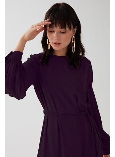 Vivencia Kolları Pile Detaylı Kadın Elbise Somon Mor
